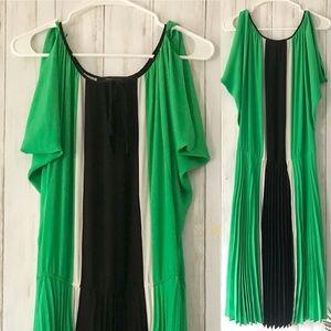 BCBGMAXAZARIA   Knife Pleated Green Striped Dress